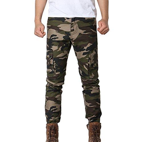 OSYARD Herren Army Tarnung Multi-Pocket-Kampf Reißverschluss Kordelzug Freitzeithose Stretch Sporthose Jogginghose Sweatpants Straight Cargo Pants (EU-XL/CN-38, Armeegrün)