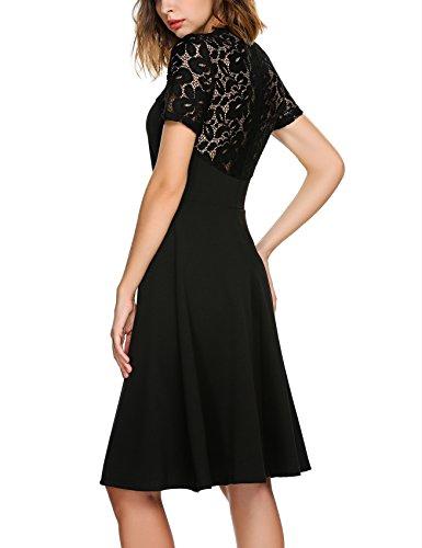Beyove Damen Vintage Cocktailkleid Kurzarm Partykleid mit Spitzen Festliches Kleid Sexy Ballkleid Spitzenkleid Knielang Schwarz ()