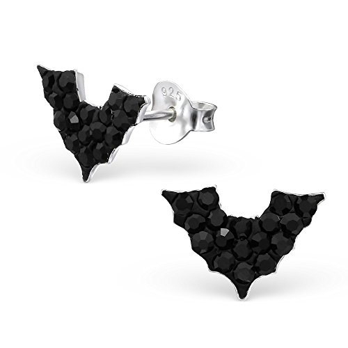 925 Silber Fledermaus Ohrringe mit 34 schwarz funkelden Kristallen von Monkimau, Kinder-Schmuck, Sterling Silber, Damen, Frauen,...