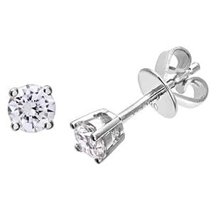 Naava Platinum Stud Earrings, H/SI Certified Diamonds, Round Brilliant, 0.33ct