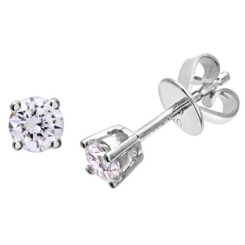 Naava Women's Platinum Stud Earrings, IJ/I Certified Diamonds, Round Brilliant, 0.33ct