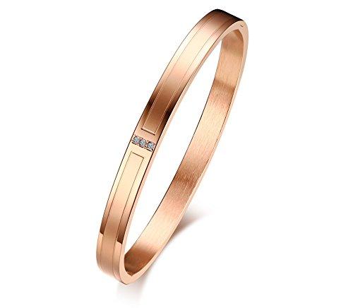 Vnox targhette in acciaio inossidabile personalizzato incisione polsino con strass alto polsino bracciale personalizzato in oro rosa per le donne