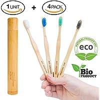 Cepillos de dientes de Bambú, Paquete de cepillos Ecológicos de Bambú, 100% Orgánicos, Biodegradables, Naturales y Veganos. 4 Unidades con cerdas de carbón naturales, vegetales y suaves + 1 x Estuche/ Funda