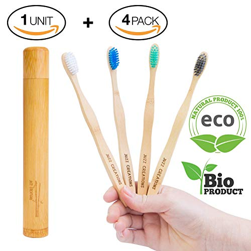 Cepillos de dientes de Bambú, Ecológicos , 100% Orgánicos, Biodegradables, Naturales y Veganos. 4 Unidades con cerdas de carbón naturales, vegetales y suaves + 1 x Estuche/ Funda