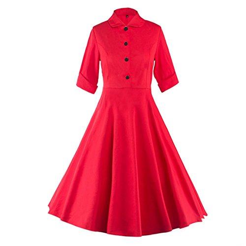 Dressvip Femme Robe Rétro Vintage Années 50 Manches 1/2 avec Ceinture Robe Rockabilly Pin-up Robe de Cérémonie de Soirée Rouge