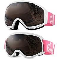 Odoland Lot de 2 Paires de Lunettes de Ski Masque de Snowboard pour Adult et Enfant Anti-UV400, Anti-Buée, Coupe-Vent, Lunettes de Protection avec Grande Lentille OTG Sphérique
