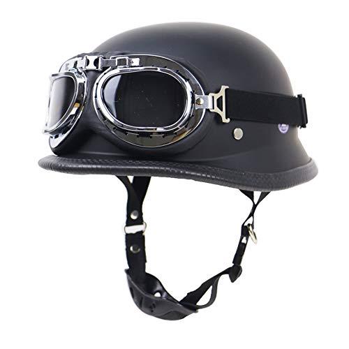 Sanqing Sommer handgefertigte Persönlichkeit Vintage Harley Motorradhelm + Sonnenbrille, Deutschen Stil Halbradhelm Motorrad Cruiser Roller Cool Halley Helm,ElegantBlack,L