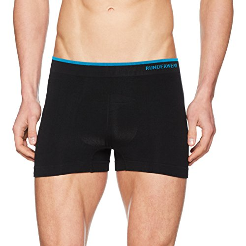 Runderwear Men's Boxer Shorts | Seamless, Chafe-Free Performance Underwear | Ideal for Running, Football, Rugby, Tennis, Hockey, Golf and Other Sports (Large, Black)
