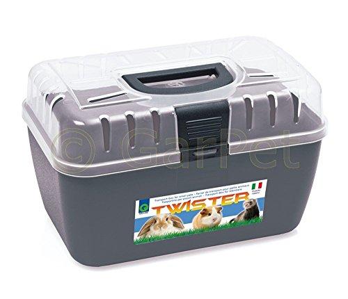 Transportbox Kleintier Nagetier Trage Meerschweinchen Hamster Vogel Mäuse Box (anthrazit)