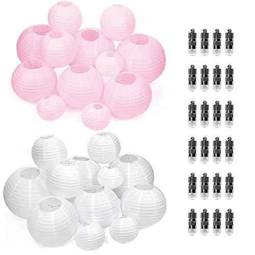 12er weiße + 12er Rosa Papier Laterne Lampion Rund Lampenschirm + 24er Warmweiße Mini LED-Ballons Lichter für Hochtzeit Garten Party Dekoration