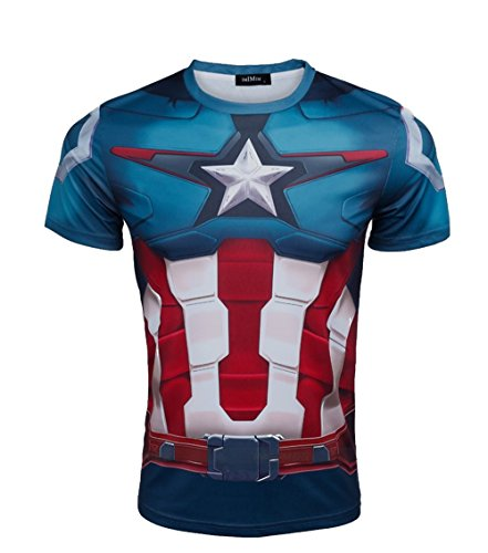 Madhero da uomo capitan america marvel comic Hero Avengers Cosplay a maniche corte T-shirt (S, blu)