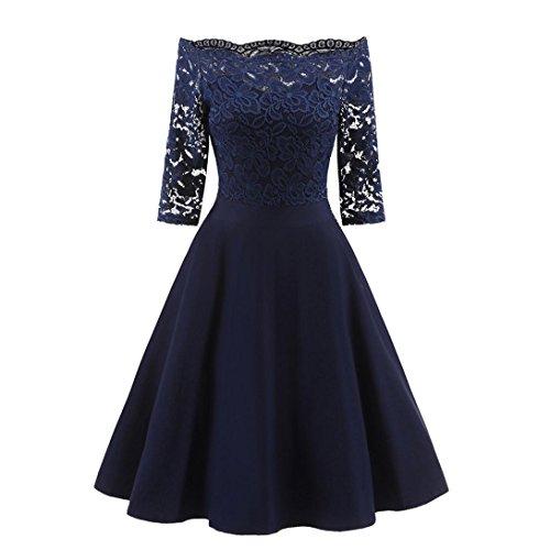 Kleid Damen New Vintage Spitze Patchwork Schulterfrei Cocktailparty Retro Schaukel Kleid