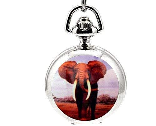 Collar de reloj de bolsillo vintage africano con elefante hecho a mano con cadena de reloj de cuarzo plateado.