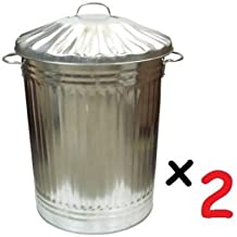 2 x Large 90L Litre Galvanised Steel Metal Bin Ideal for Animal Feed/Storage/Rubbish/Dustbin