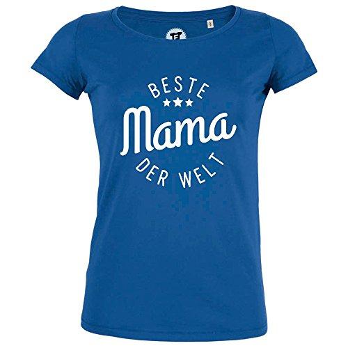 FABTEE - Beste Mama der Welt - Damen T-Shirt Bio Baumwolle - verschiedene Farben - Größen S-2XL, Größe:M;Farbe:Blau (Welt Bio-baumwoll-t-shirt)
