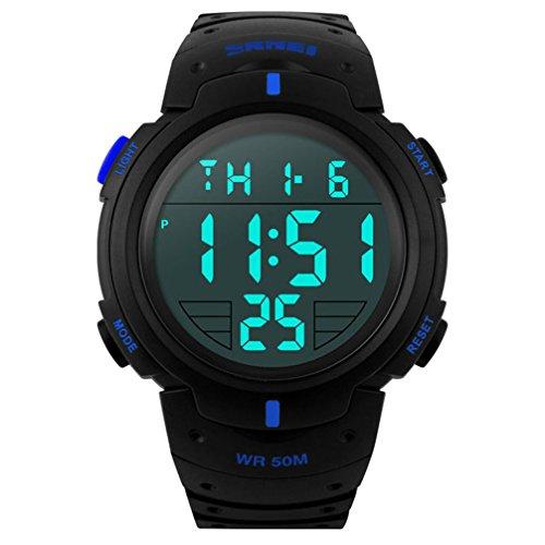 TTLIFE 1068 Unisex Herren Sport Uhren Male Digital Outdoor Armbanduhren Wasserdicht (Blau)