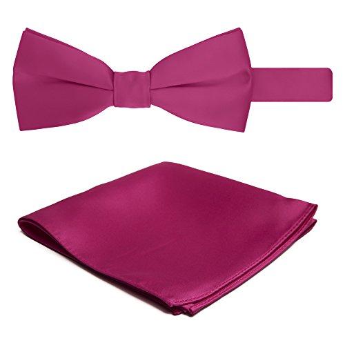 Jacob Alexander Solid Color Men's Bowtie and Hanky Set - Fuchsia Pink