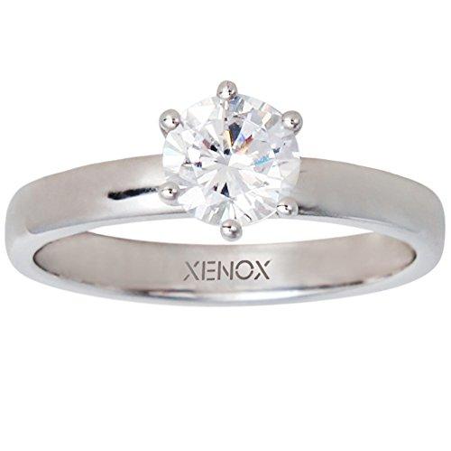 XENOX XS7356 Damen Ring Silver Circle Sterling-Silber 925 Silber weiß Zirkonia 15,9 mm Größe 50