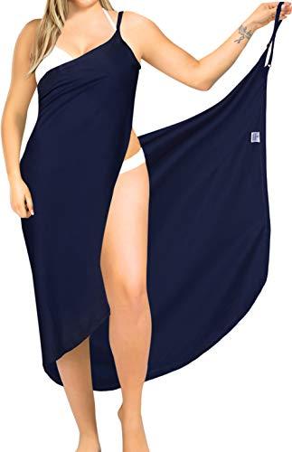 LA LEELA Damen Sommer V-Ausschnitt Spaghetti Träger Rückenfrei Einfarbig Wickeltuch Sarong Wrap Urlaub Lange Strandkleider Strandtuch Towel Bikini Cover Up Pareos Navy Blau_A288 52 (4XL)- 54 (5XL)