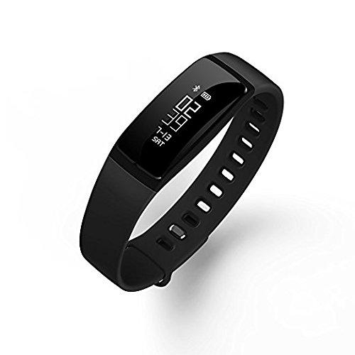 QQPOW Fitness Armband Bluetooth 4.0 Blutdruck Herzfrequenzmonitor Schlaf Meter Kalorienzähler Pedometer Android und IOS-Smartphone Sportband (Schwarz)