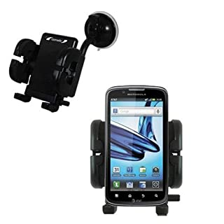Windshield Vehicle Mount Cradle suitable for the Motorola Atrix Refresh - Flexible Gooseneck Holder with Suction Cup for Car / Auto. Lifetime Warranty