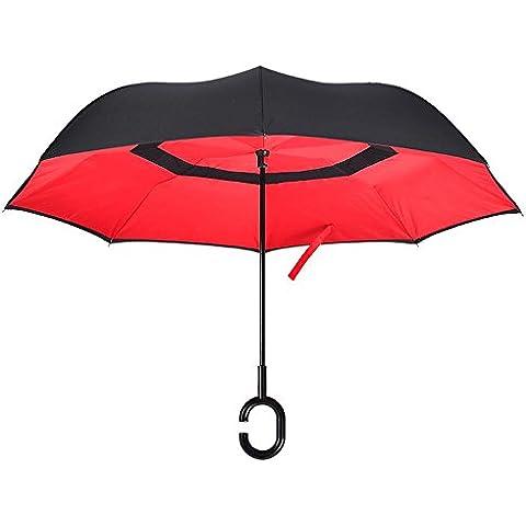 ssby creative doppio retro ombrello, uomo e donna e business ombrello manico anti-driven pubblicità ombrello, resistente e portatile, Red