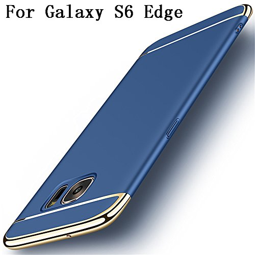 Galaxy S6 edge Hülle,Heyqie 3 in 1 Ultra-thin 360 Full Body Anti-Scratch Shockproof Hard PC Non-Slip Skin Smooth Back Cover Case with Electroplate Bumper for Samsung Galaxy S6 Edge - Blue