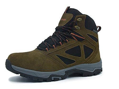 Knixmax Herren Wanderschuhe Leder Wasserdicht Stiefel Outdoor Stiefel Trekking Hiking Boots Gleitsicher Dämpfung Stiefel Men Waterproof Trekking-& Wanderstiefel (Herren Zehe-boot Spitzen)