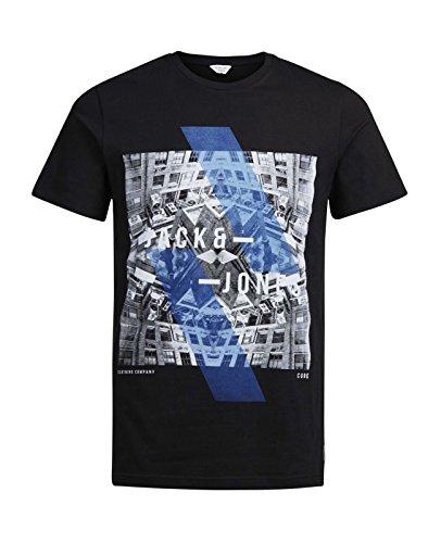 JACK & JONES Herren T-Shirt jcoEMILIO jcoVISION Print Rundhals Mehrfarbig Slim Fit und Oversize Schwarz (Black Fit:SLIM)