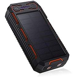 POWERADD Chargeur Solaire 26800mAh, Batterie Externe Solaire avec Double Entrée Deux Lampes LED Briquet Intégré pour iPhone, iPad, Samsung, Nexus, Huawei et d'autres Appareils