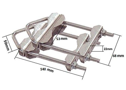 HD-Line 2X Doppelschelle Sat Mast Schelle Zahnschelle bis 60mm verzinkt Balkon