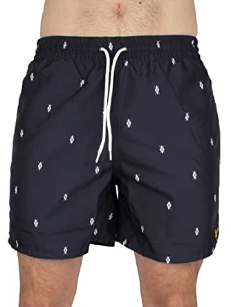 Lyle & Scott Men's Printed Swim Shorts, Blue, Large