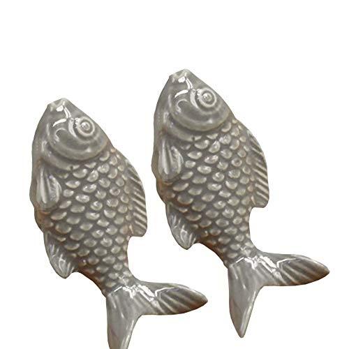 FBSHOP(TM) 2PCS 55mm Grau Cute Fisch Form Keramik Türknauf Griff Knöpfe für Schrank / Schublade / Bad /Kinderzimmer , Great & Fun Decor,7 Farben erhältlich (Glas-möbelknöpfe Grau)