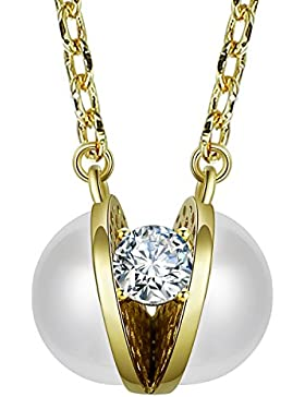 fancilla halboffenen Simuliert Pearl und Sparkle Diamant Anhänger Halskette Fashion Schmuck für Lady, 45,7cm
