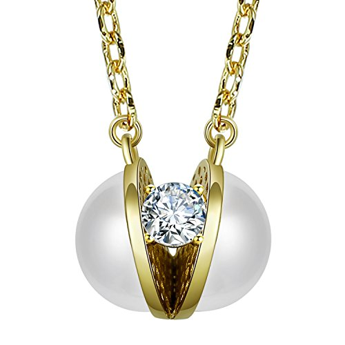 Fancilla 14K Gold Plated Semi-Open Simulated Pearl and Sparkle Diamond Gold Pendant Necklace Fashion Jewellery for Lady, 18''