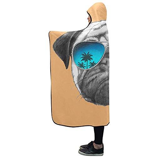N/A Manta con Capucha Dibujado a Mano Retrato de Perro Pug con Espejo Manta de Gafas de Sol 50x40 Pulgadas...