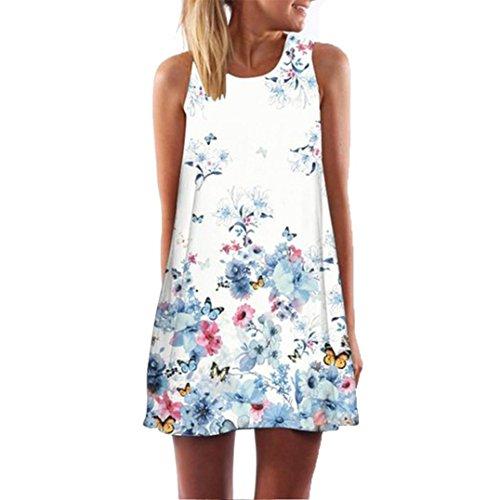 Elecenty Damen Ärmellos Sommerkleid Minikleid Strandkleid Partykleid Rundhals Rock Mädchen Blumen Drucken Kleider Frauen Mode Kleid Kurz Hemdkleid Blusekleid Kleidung (S, Blau) (Kinder Sommerkleid)