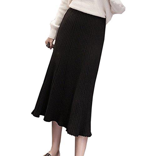 Gonna Lunga In Maglia Elastica Moda Primavera Per Donna Sexy Gonna Elastica In Vita Sottile Multicolore Black