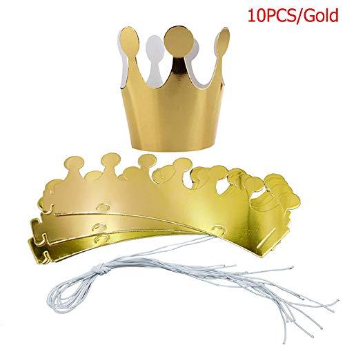 EBILUN 10 stücke Papierkrone Hüte Gold Geburtstag Party Prinz Prinzessin Hut König Kronen für Hochzeitsfeier (Prinz Und Prinzessin Kostüm Babys)
