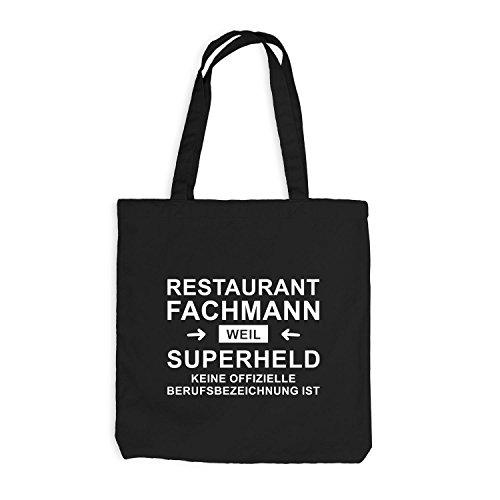Jutebeutel - Restaurant Fachmann Superheld - Hero Beruf Schwarz
