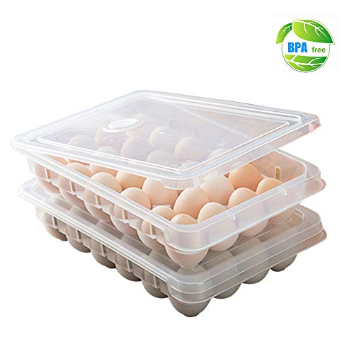 Huevera de plástico para frigorífico, para 24 huevos bandeja de almacenamiento con tapa, dispensador de huevos apilable para proteger y mantener fresco, transparente