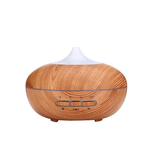 Preisvergleich Produktbild 300 ml Holzmaserung Ultraschall-Luftbefeuchter,  Aromatherapie ätherisches Öl Diffusor,  Cool und leise Luftbefeuchter mit Farbe LED Lampen und 4 Timer Einstellungen,  wasserfreie Automatische Abschaltung,  intelligente Induktion