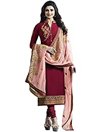 Ethnic Empire Women's Satin Georgette Anarkali Salwar Suit Set (Eed-5468_Red_Free Size)