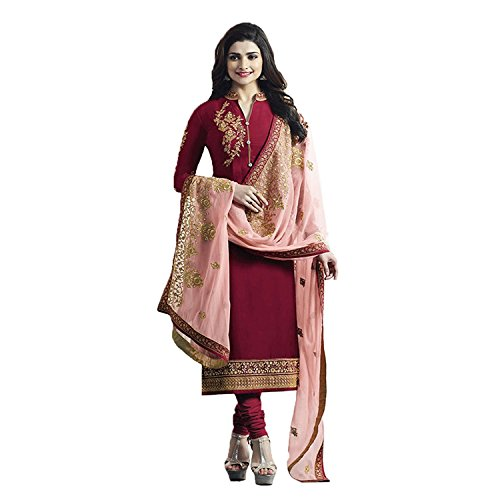 Ethnic Empire Women satin Georgette Anarkali Semi-Stitched Salwar Suit (Ethnic_Flex5468_Red_Free Size)
