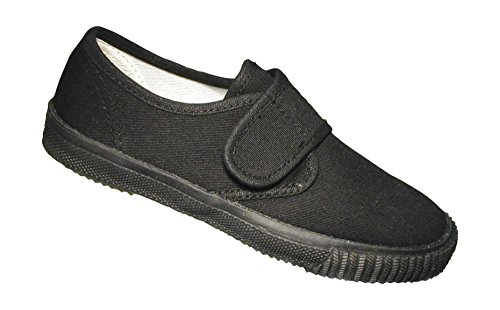 Mirak Velcro garçon Plimsoll-Boîte Textile chaussure Sneaker Noir-Taille M *