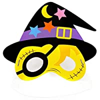 Haodou Halloween Party Cartoon Paper Mask Kindergarten Masquerade Prom Ball Party Pumpkin Bat Pirate Mask Cosplay Dress-Up Costume Accessory (Yellow)