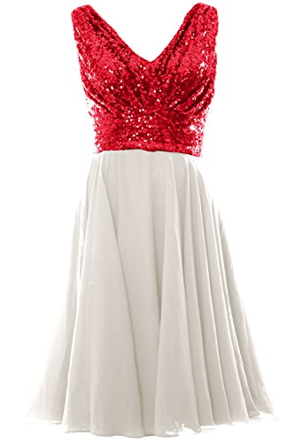 MACloth Women V Neck Sequin Chiffon Short Bridesmaid Dress Formal Evening Gown Red-Ivory