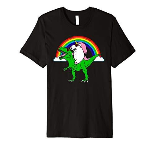 Lustig Einhorn Reitet Dinosaurier Shirt Für Einhorn Mädchen (Reitet Einhorn Mädchen)