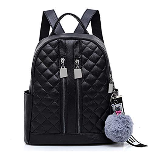 Frauen Pu Leder Rucksack Schultaschen Black 26x12x28cm -