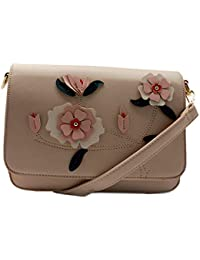 E2O Womens Sling Bag With Floral Detailing_Beige_Free Size